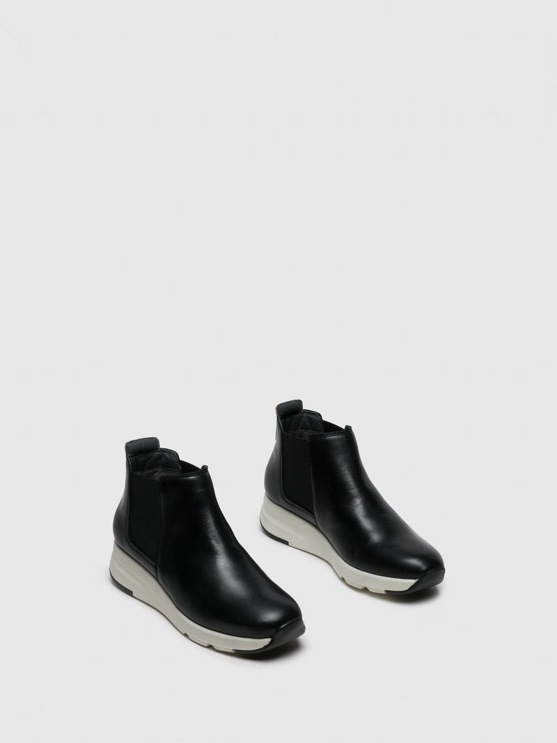 Black White Elasticated Ankle Boots