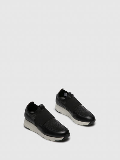 Saydo Black White Elasticated Trainers