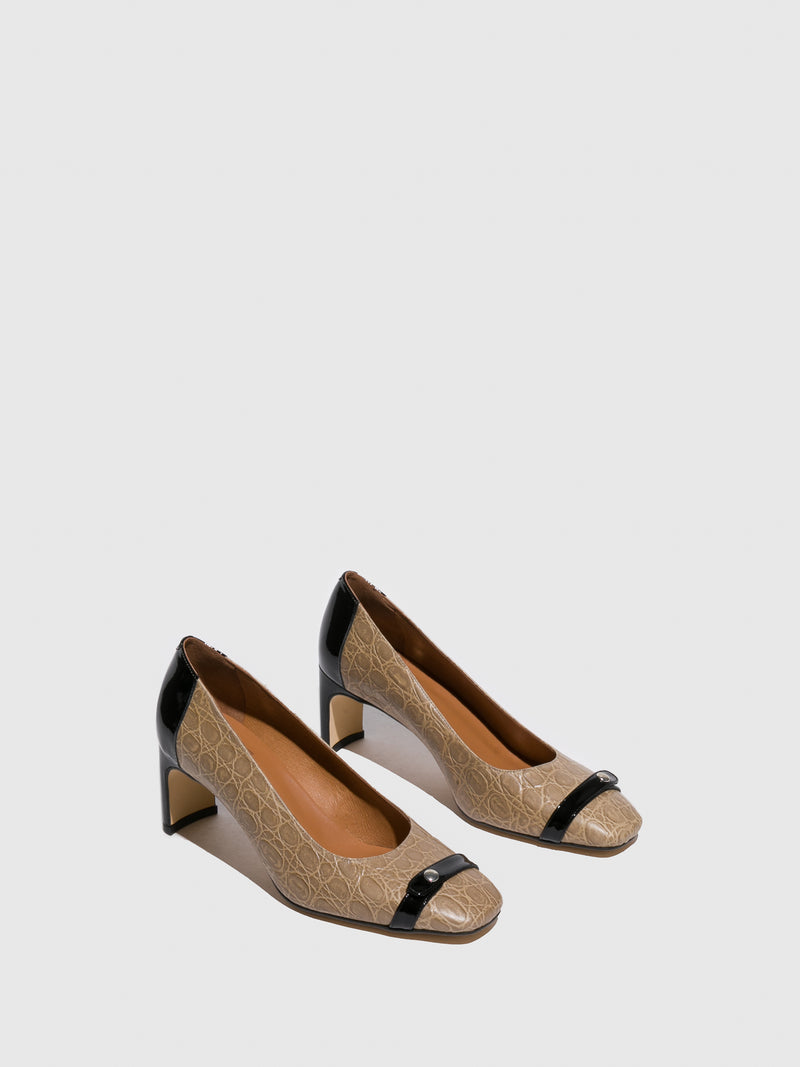 Sofia Costa Beige Chunky Heel Shoes