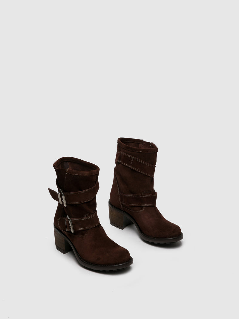 Sotoalto Brown Leather Buckle Boots