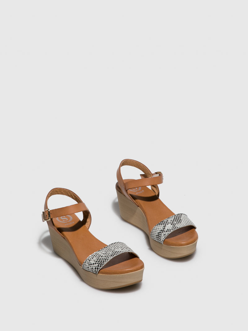 Sotoalto Brown Leather Wedge Sandals