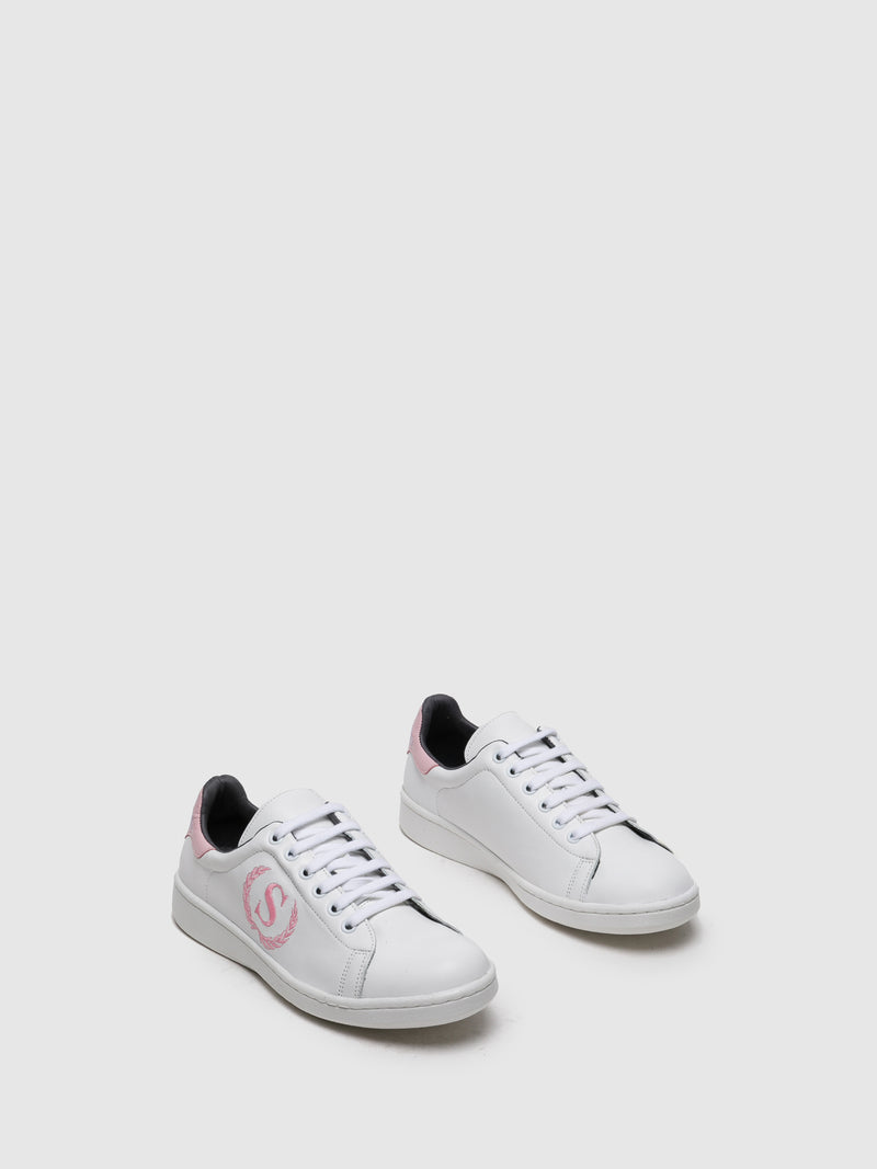 Pink White Lace-up Trainers