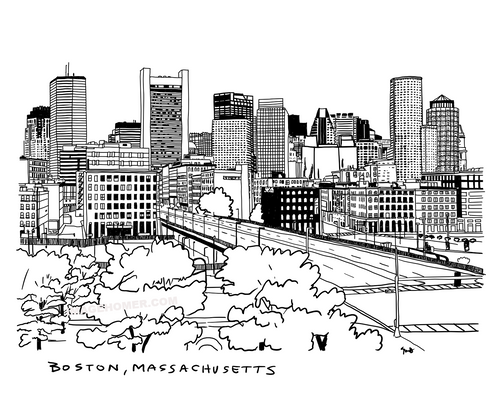 Boston Massachusetts Downtown Skyline Illustration