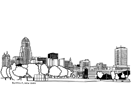 Buffalo New York Downtown Drawing Black and White Illustration