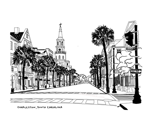Charleston South Carolina Downtown Illustration