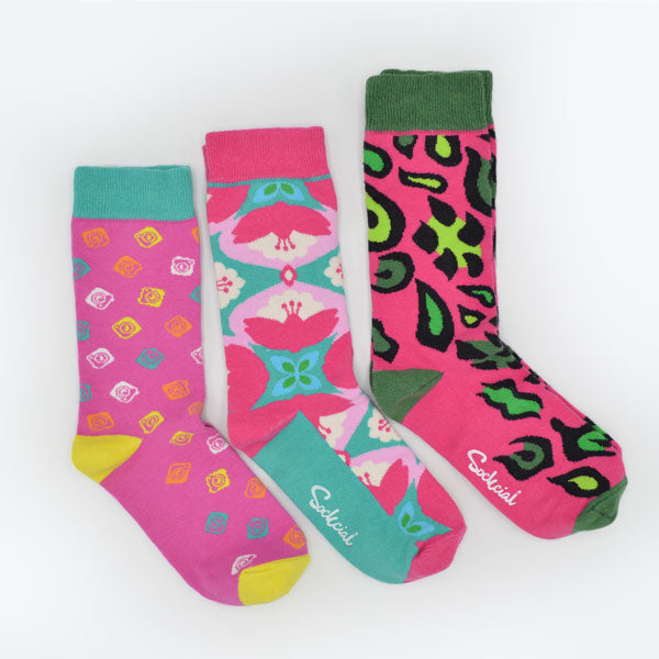 Pack 3 pares de calcetines pink