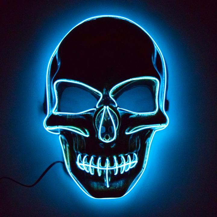 Halloween Light Up EL Wire Skull Mask