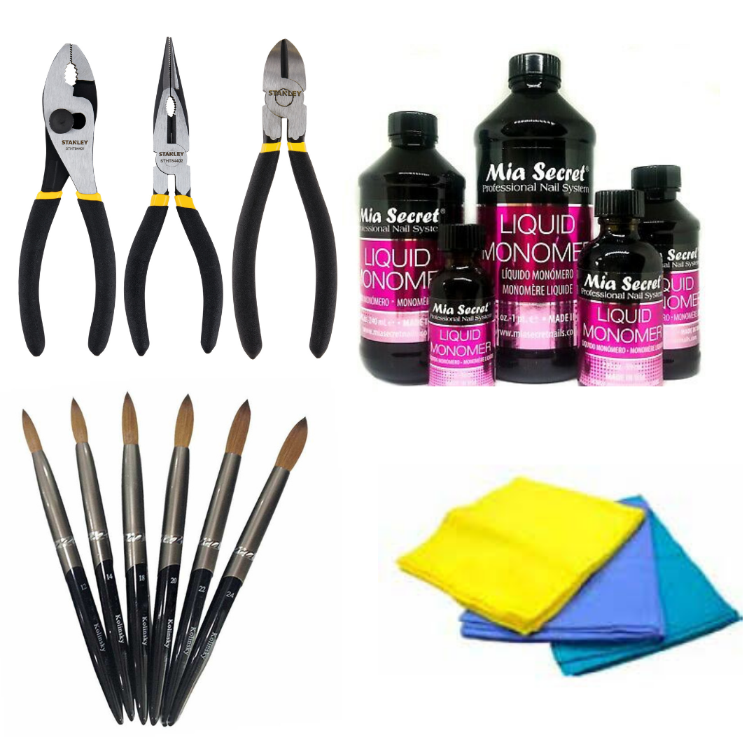 Tools for crimping your acrylic nail brush