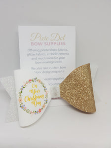 Christening Bow Fabric Approx A4