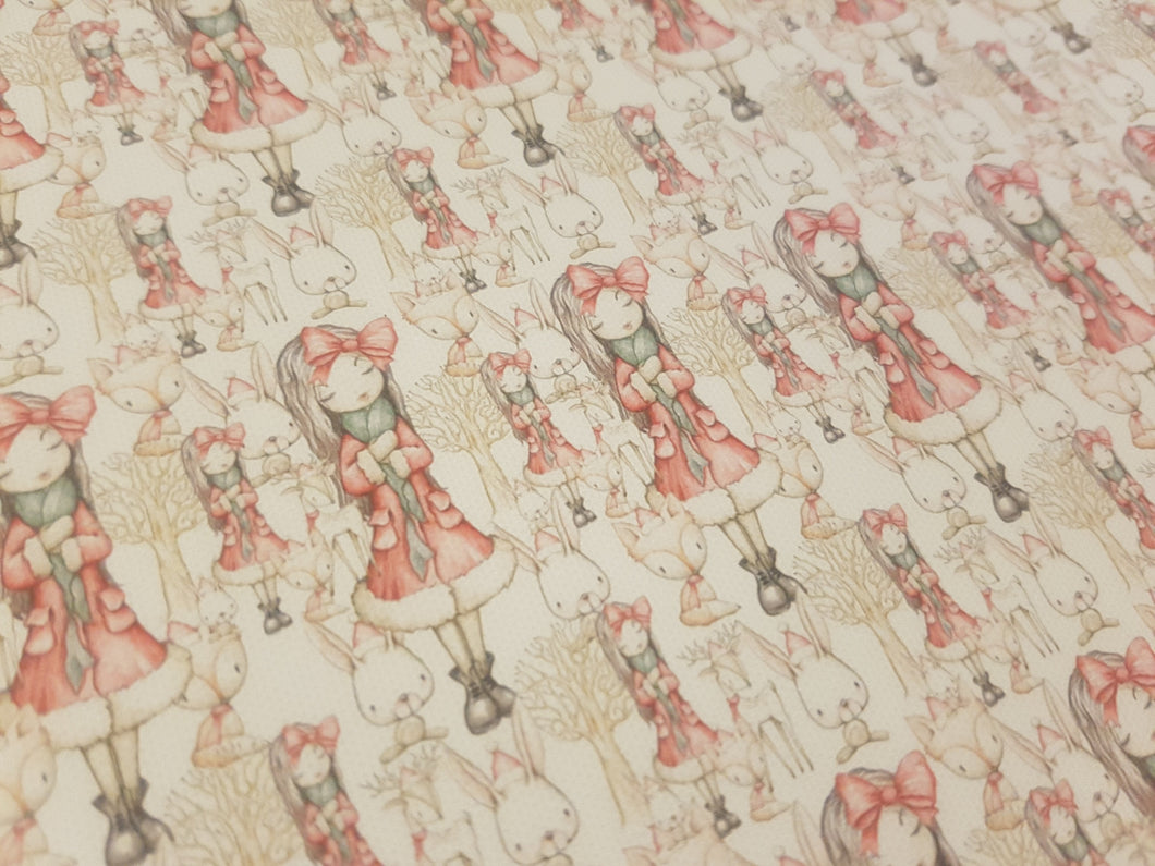 Christmas bow girl printed fabric - Approx A4