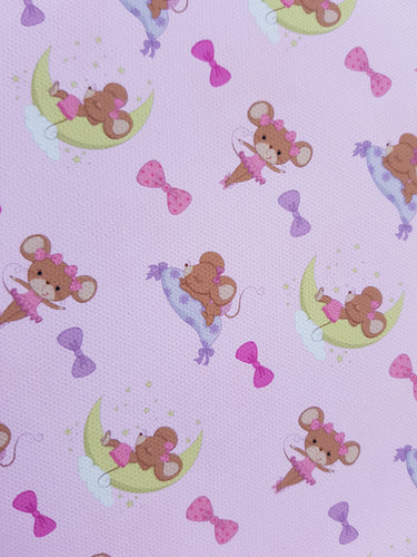 Ballerina Mouse Printed Fabric