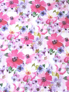 Pink and purple watercolour flower print (115)