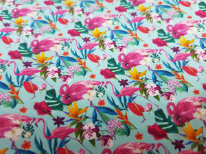 Blue Flamingo Approx A4 printed fabric (188)