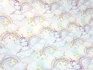Unicorn, Stripes and Flowers collection - Approx A4 Printed Fabric