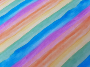 Rainbow watercolour printed fabric