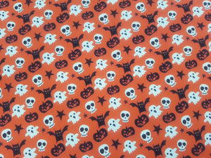 Orange Background Skull, Bat, Pumpkin Halloween