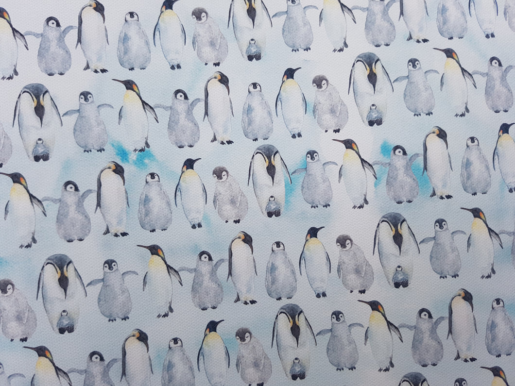 Repeated Penguin Printed Fabric Approx A4