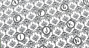Damask alphabet fabric