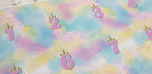 Pastel Unicorn Birthday numbers 1 - 8
