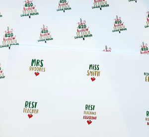Teacher Christmas Fabric - Big Heart to teach little minds