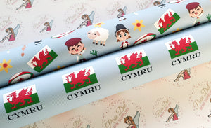 Welsh CYMRU printed fabric (2 to choose from)