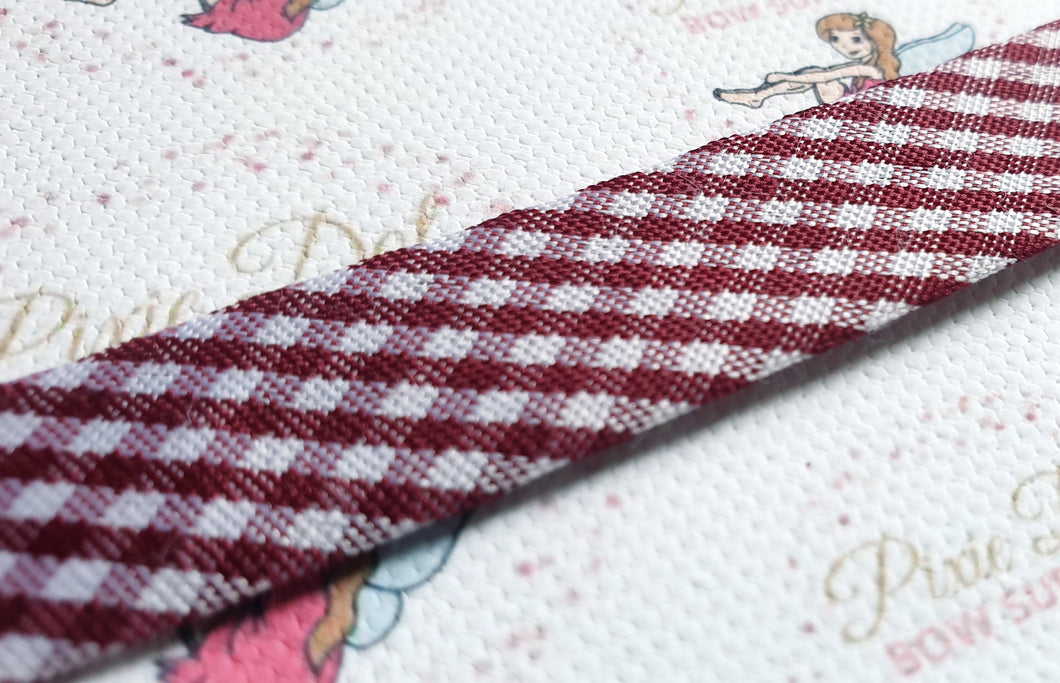 15mm Burgundy Gingham Bias