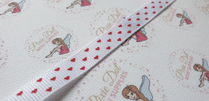 White with red Heart Grosgrain Ribbon 10mm