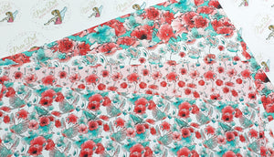 Poppy Printed Bow Fabric (4 to choose from)