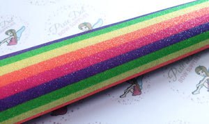 Fine Rainbow Stripe Glitter Fabric A4