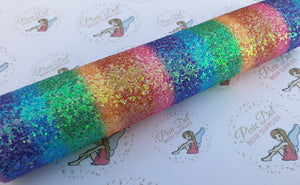 Chunky Rainbow Stripe Glitter Fabric A4