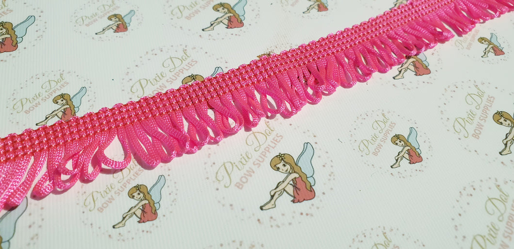 Pink Fringe trim in metre lengths