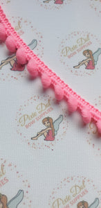 Pink Pom pom trim in metre lengths