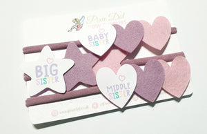 Big Sister, Middle Sister, Baby Sister A4 Bow Fabric