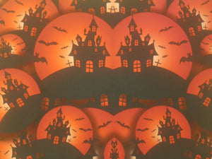 Haunted Halloween House Printed Fabric