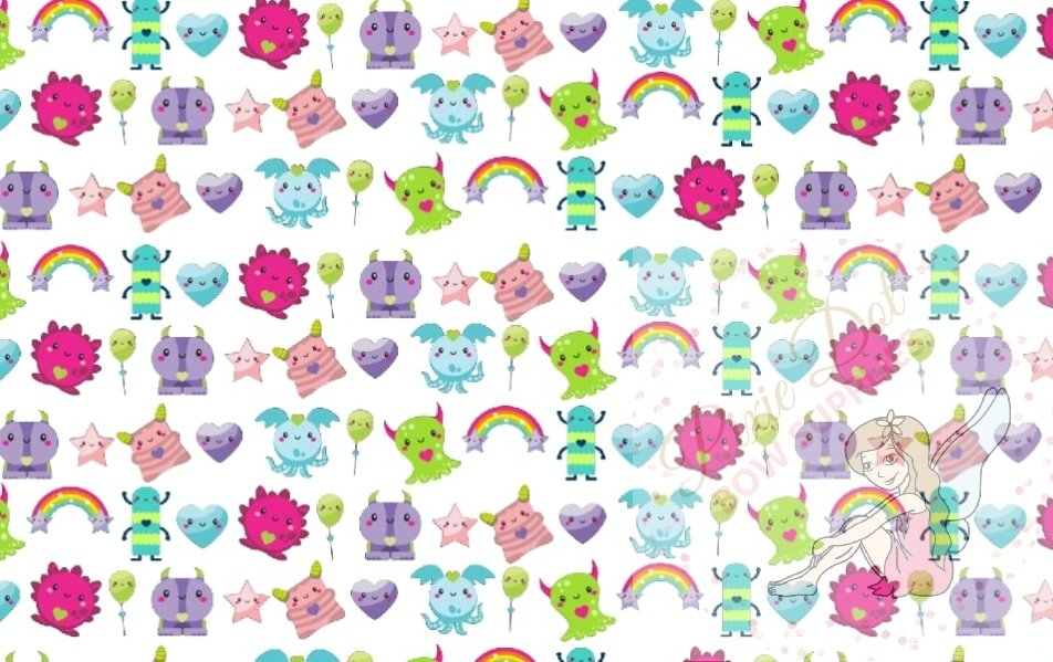 A4 Cute Monster Bow Fabric