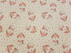Red Hat Snowman printed fabric - Approx A4