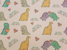 Large Dino-Mite Printed Bow Fabric - Approx A4