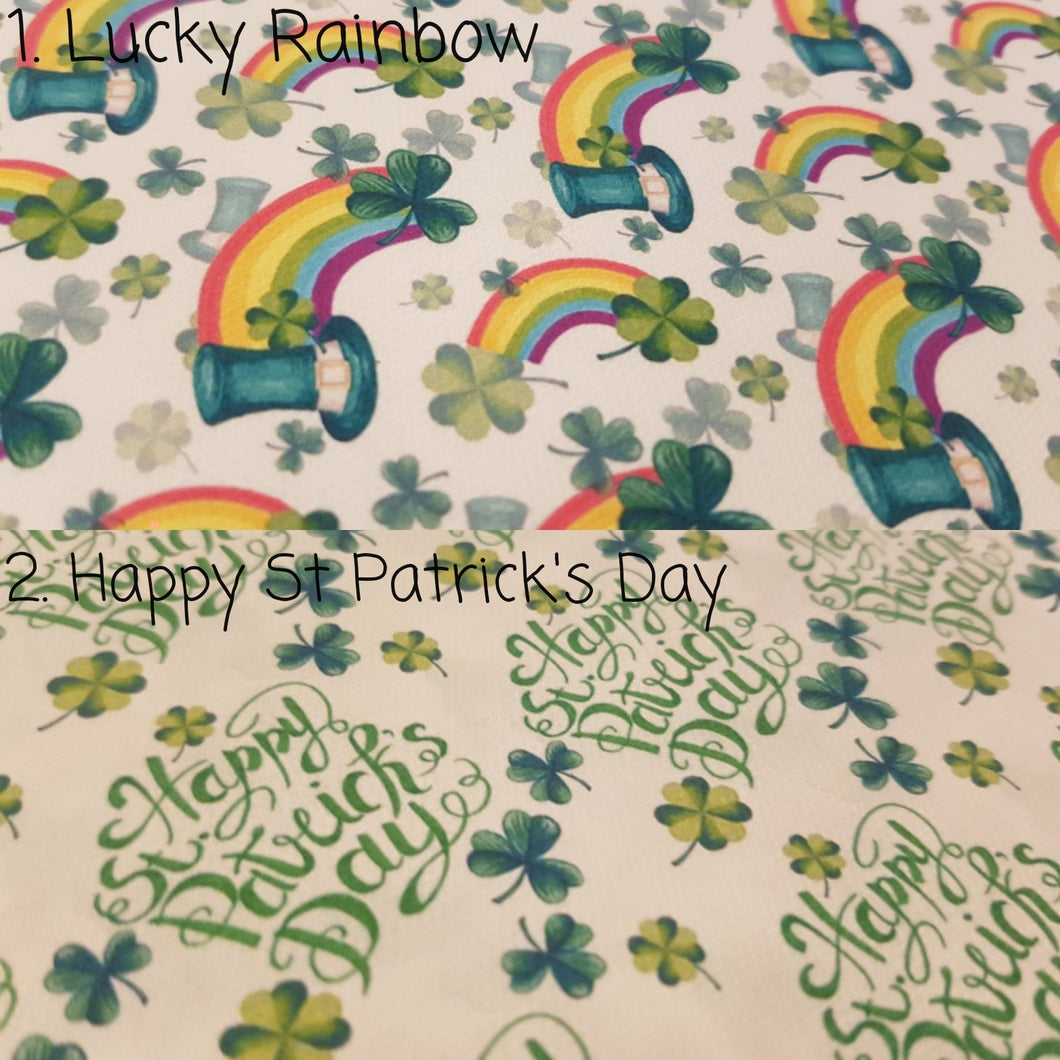 Happy St Patrick's Day printed fabric -  2 to choose from
