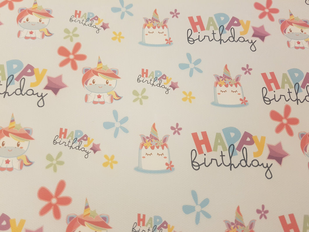 Happy Birthday Unicorn Printed Fabric - Approx A4