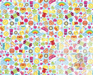 A4 Kawaii Cupcake printed bow fabric