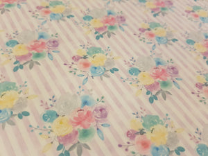 Lilac stripe flower fabric