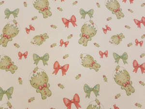 Gingerbread Bow - Printed Bow fabric approx A4