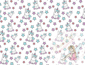A4 Unicorn and Stars Printed Fabric