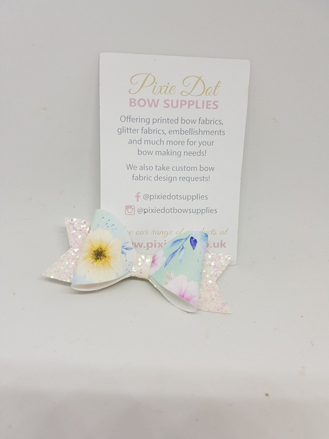 Pastel Flower Printed Bow Fabric