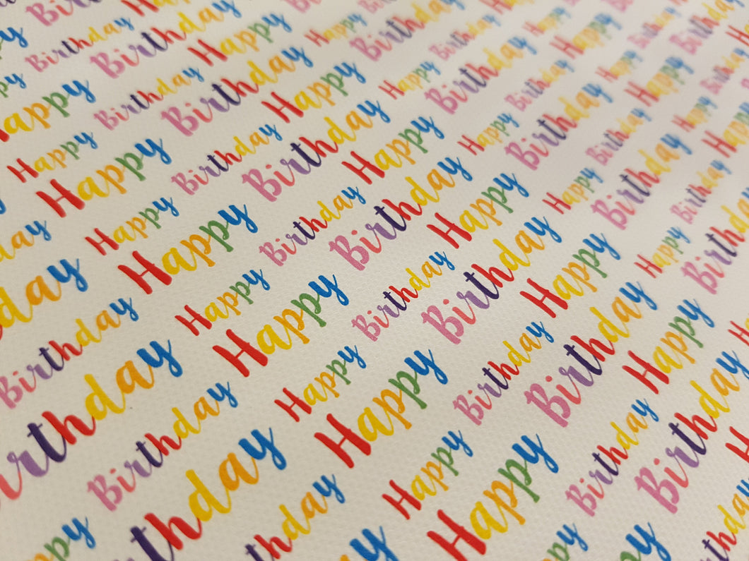 Rainbow Happy Birthday sheet (2 to choose from - Standard Rainbow or Pastel Rainbow)