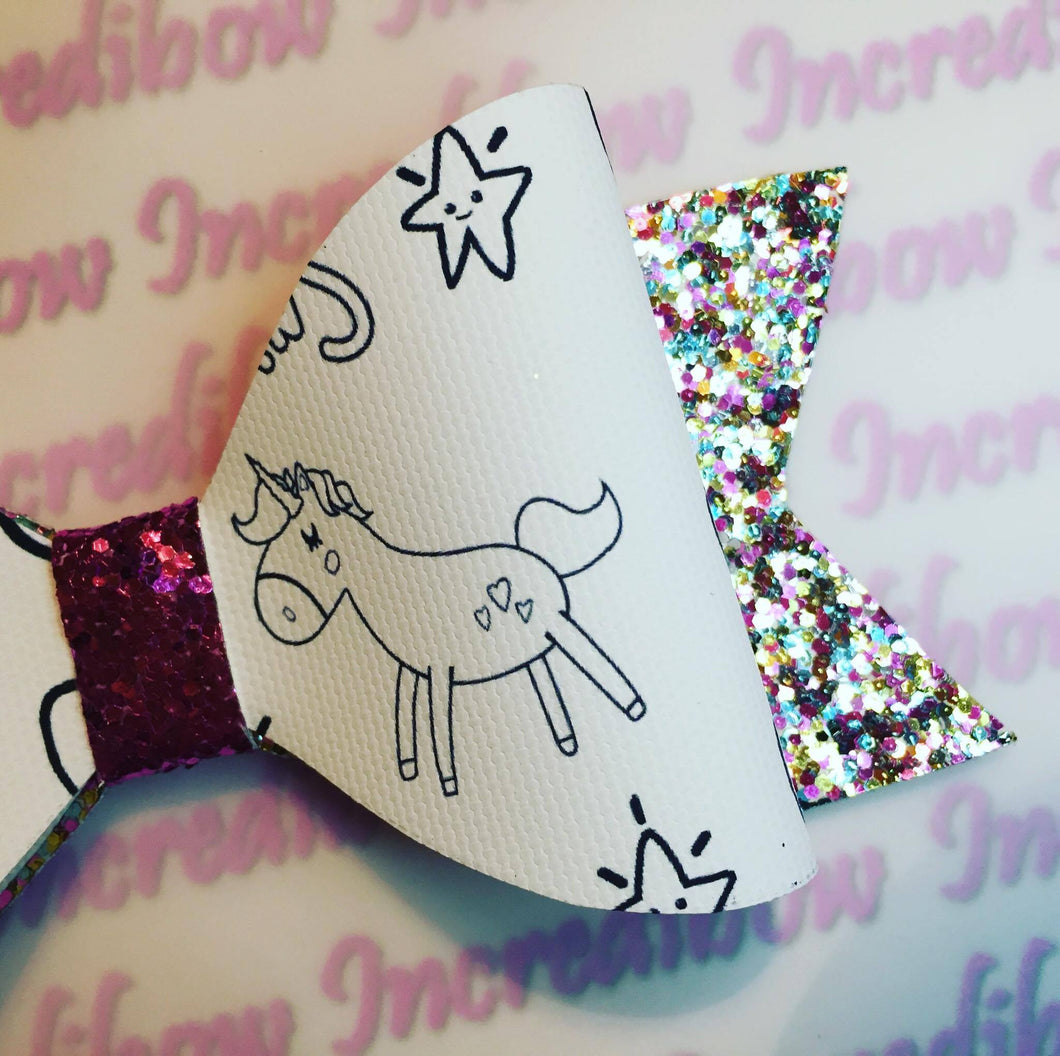 Colour in Unicorn Printed Bow Fabric - Approx A4