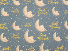 Sweet Dreams and Moon Bunny Bow Fabric - Approx A4