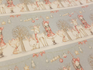 Grey Woodland Christmas Printed Fabric Approx A4