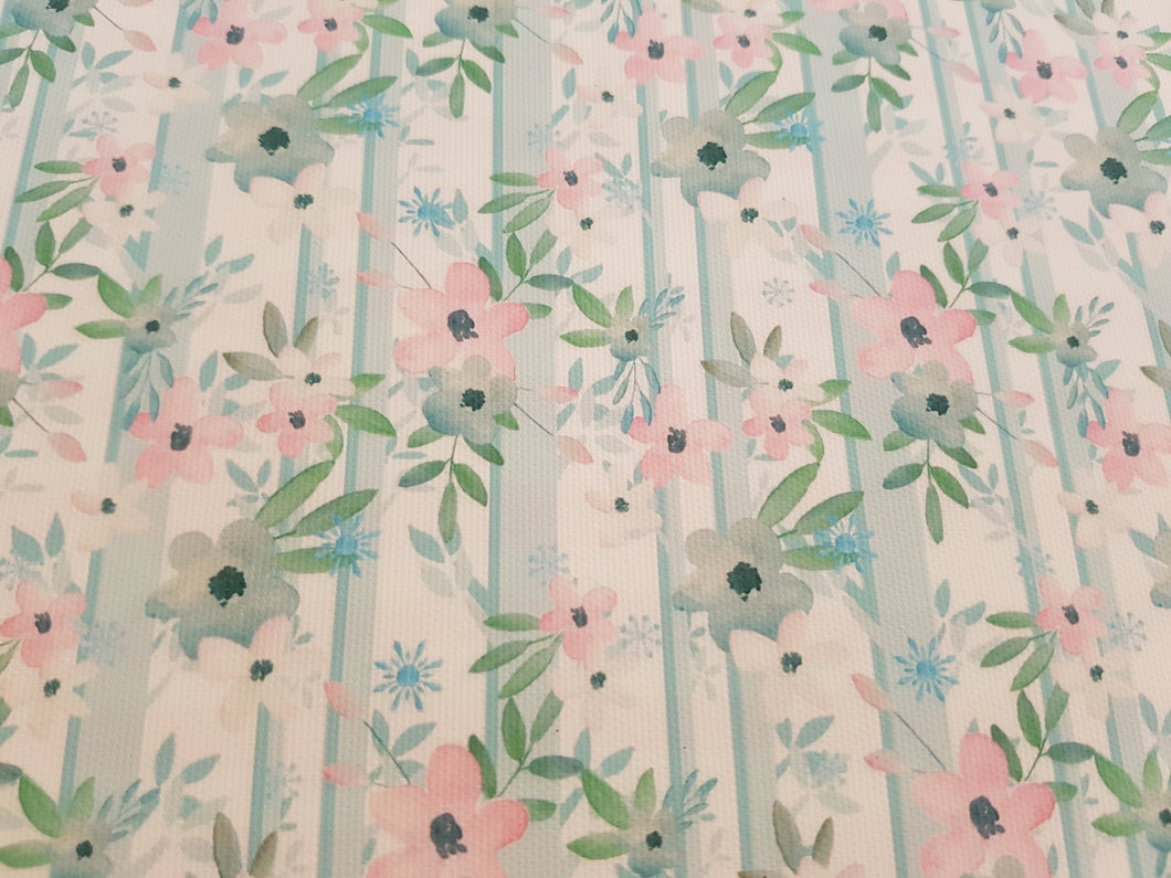 Watercolour Blue and pink flower Printed Bow Fabric
