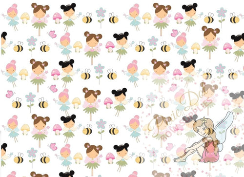 A4 Fairy Bow Printed Fabric